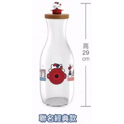 Hello Kitty x Le Creuset BIG Size Limited Glass Beverage Jug w/Figure SANRIO OFFICIAL Seven Eleven Market Taiwan 2018