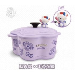 Hello Kitty x Le Creuset Seven Eleven Market Taiwan Limited Bamboo Pot-Bowl w/ Figure SANRIO OFFICIAL 2018 – Purple Color ver.