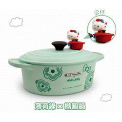 Hello Kitty x Le Creuset Seven Eleven Market Taiwan Limited Bamboo Pot-Bowl w/ Figure SANRIO OFFICIAL 2018 – Green color Ver.