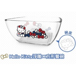 Hello Kitty x Le Creuset Limited Glass Bowl SANRIO OFFICIAL Seven Eleven Market Taiwan 2018 - SQUARE Ver.