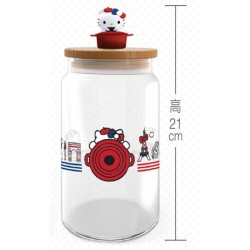 Hello Kitty x Le Creuset BIG Size Limited Glass Jar w/Figure SANRIO OFFICIAL Seven Eleven Market Taiwan 2018