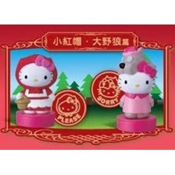 "Hello Kitty Figurine Stamp Keychain Stamp - Little Red Riding Hood Set x2 pcs. 2.5"" (Seven Eleven Limited)"