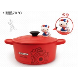Hello Kitty x Le Creuset Seven Eleven Market Taiwan Limited Pot-Bowl w/ Figure SANRIO OFFICIAL 2018 – Red colour version