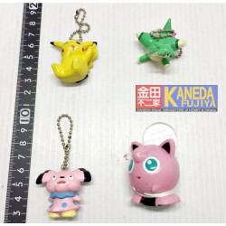*Outlet*  Pokemon Lot of 4pcs. keychain figures ORIGINAL JAPAN Pikachu Jigglypuff Snubbull