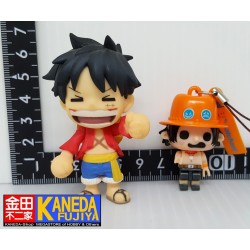 One Piece Monkey D Luffy Chibi Figure & Portgas D Ace Keychain Strap Charm SET