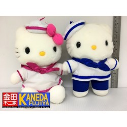 SANRIO Hello Kitty Have A Nice Trip Sailor Costume Version Soft Plush Doll Set of 2 (H20cm approx)