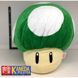 Super Mario Bros Large 1UP Green Mushroom Plush Pillow BIG Size (35cm approx.)