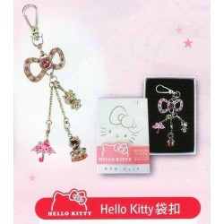 TAIWAN 7-11 Limited Ed. HELLO KITTY KEYCHAIN BAG Strap Buckle WITH CHARMS SET