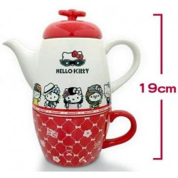 Hello Kitty Sanrio x Seven Eleven LIMITED Porcelaine Teapot with cup Set includes Stainless Steel Filter
