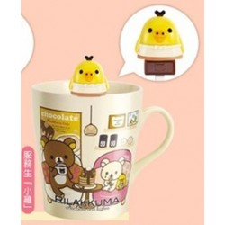 Relax Bear Rilakkuma Family BIG Porcelaine Mug Cup with Stirrier Asia Seven Eleven Limited - Kiitori Bird Cream Yellow Version.