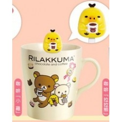 Relax Bear Rilakkuma Family BIG Porcelaine Mug Cup with Stirrier Asia Seven Eleven Limited - Kiiroitori Bird Coffee Yellow Ver.