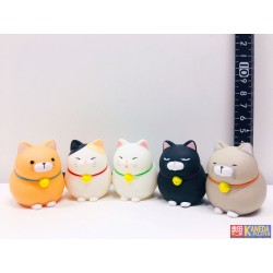 AMUSE ORIGINAL Hige Manjyu Cat Vynil Figure Mascot - Set of 5 pcs. (Kuromame, Mi Sama, Gray Cat, Maekake) Around 4cm