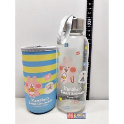 Kanahei Authentic Glass Bottle Tumbler w/Lid, rope & Cover Piske & Usagi LIMITED