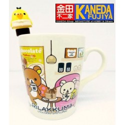 Relax Bear Rilakkuma Family BIG Porcelaine Mug Cup with Stirrier Asia Seven Eleven Limited - Kiitori Bird Coffe Yellow Ver